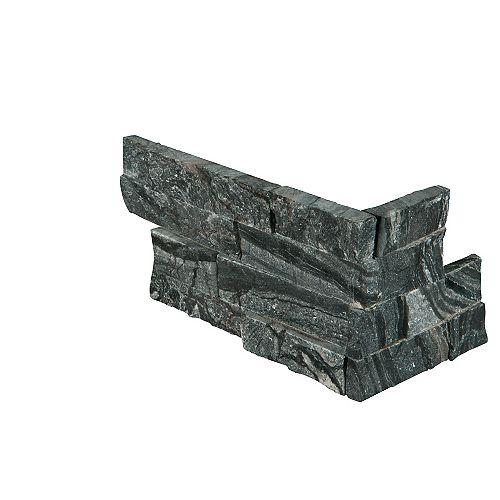 MSI Stone ULC Carr. marbre naturel pour murs, noir glacial, face éclatée, pann. de coin de 6 x 18 po, 4,5 pi2/bte