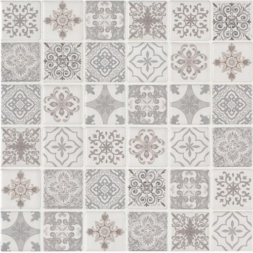 Anya Blanco Encaustic 12-inch x 12-inch x 6 mm Glazed Ceramic Mesh-Mounted Mosaic Tile (14.55 sq. ft. / case)
