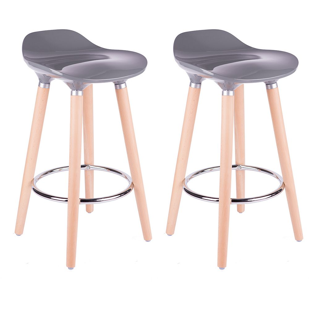 Bronte Living ABS Bar Stool 30-inch Height with Wooden Beech Legs, Backless - Grey - Set of 2
