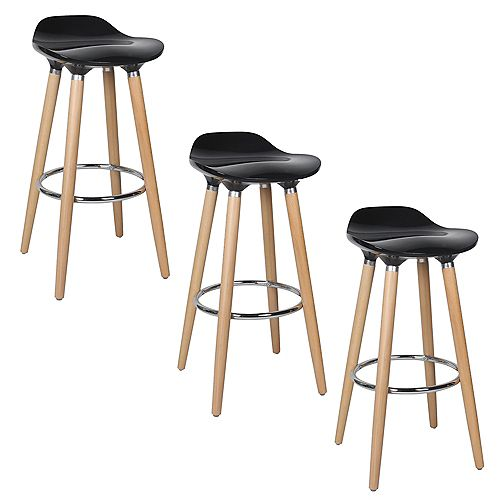 ABS Bar Stool 30-inch Height with Wooden Beech Legs, Backless - Black - 3 Unit