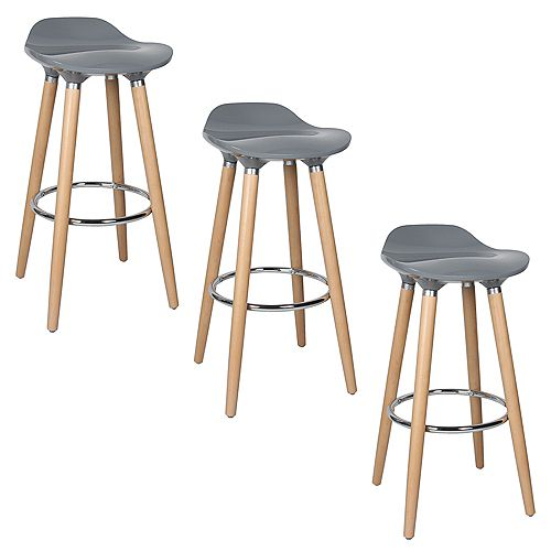ABS Bar Stool 30-inch Height with Wooden Beech Legs, Backless - Grey - 3 Unit