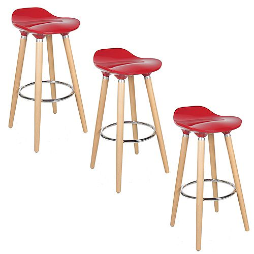 ABS Bar Stool 30-inch Height with Wooden Beech Legs, Backless - Red - 3 Unit