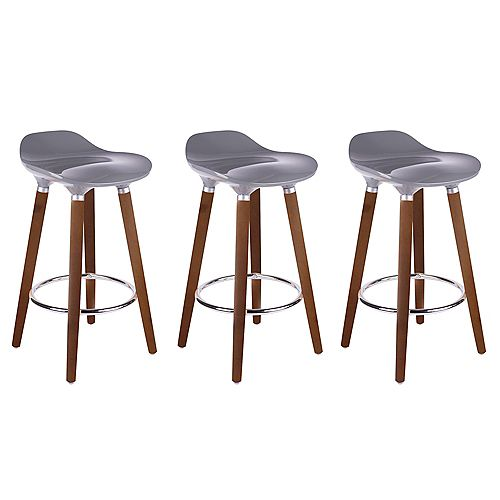 ABS Bar Stool 26-inch Height with Wooden Walnut Legs, Backless - Grey - 3 Unit