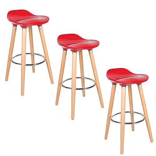 ABS Bar Stool 26-inch Height with Wooden Beech Legs, Backless - Red - 3 Unit