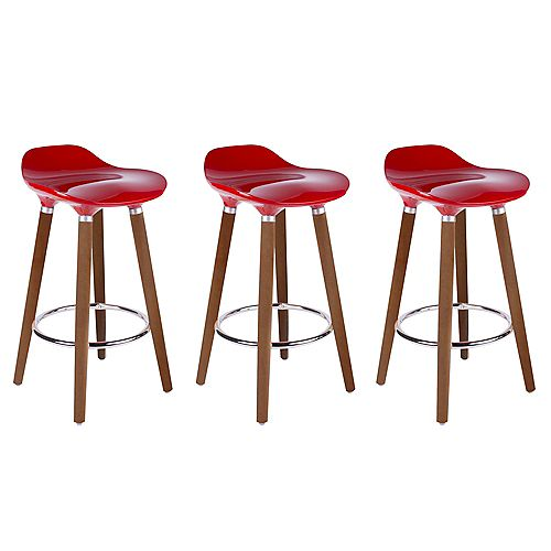 ABS Bar Stool 26-inch Height with Wooden Walnut Legs, Backless - Red - 3 Unit