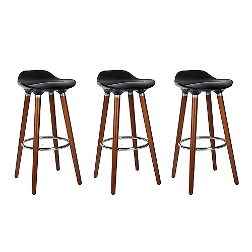 ABS Bar Stool 26-inch Height with Wooden Walnut Legs, Backless - Black - 3 Unit