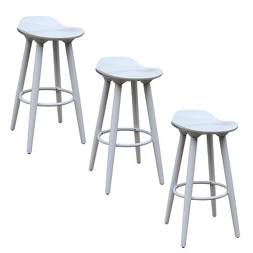 ABS Bar Stool 26-inch Height with Wooden White Legs, Backless - White - 3 Unit