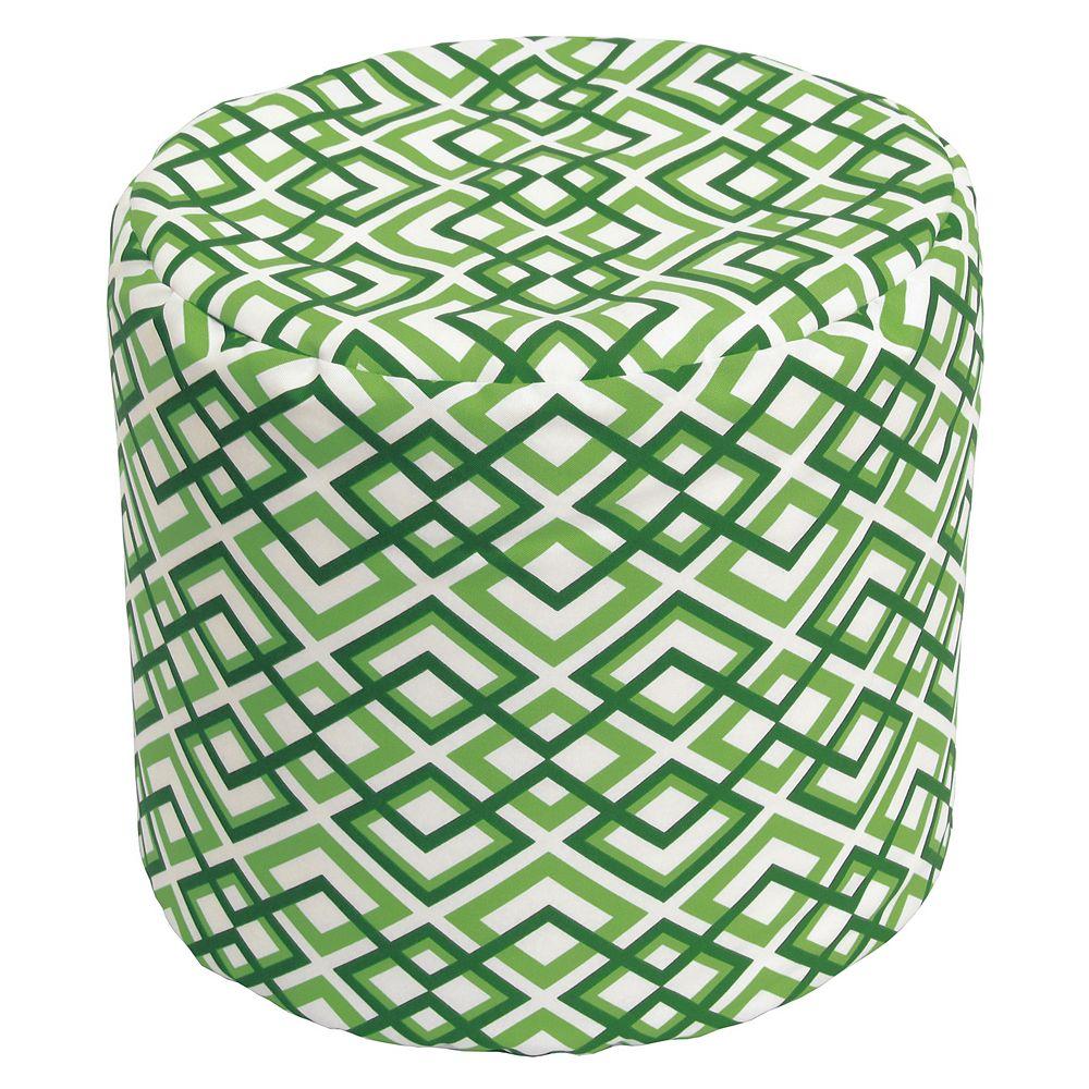 Bozanto Inc. Round Pouff Geo Light Green
