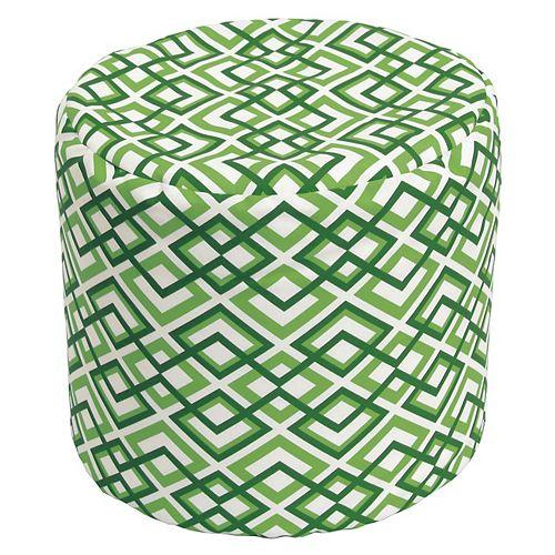 Round Pouff Geo Light Green