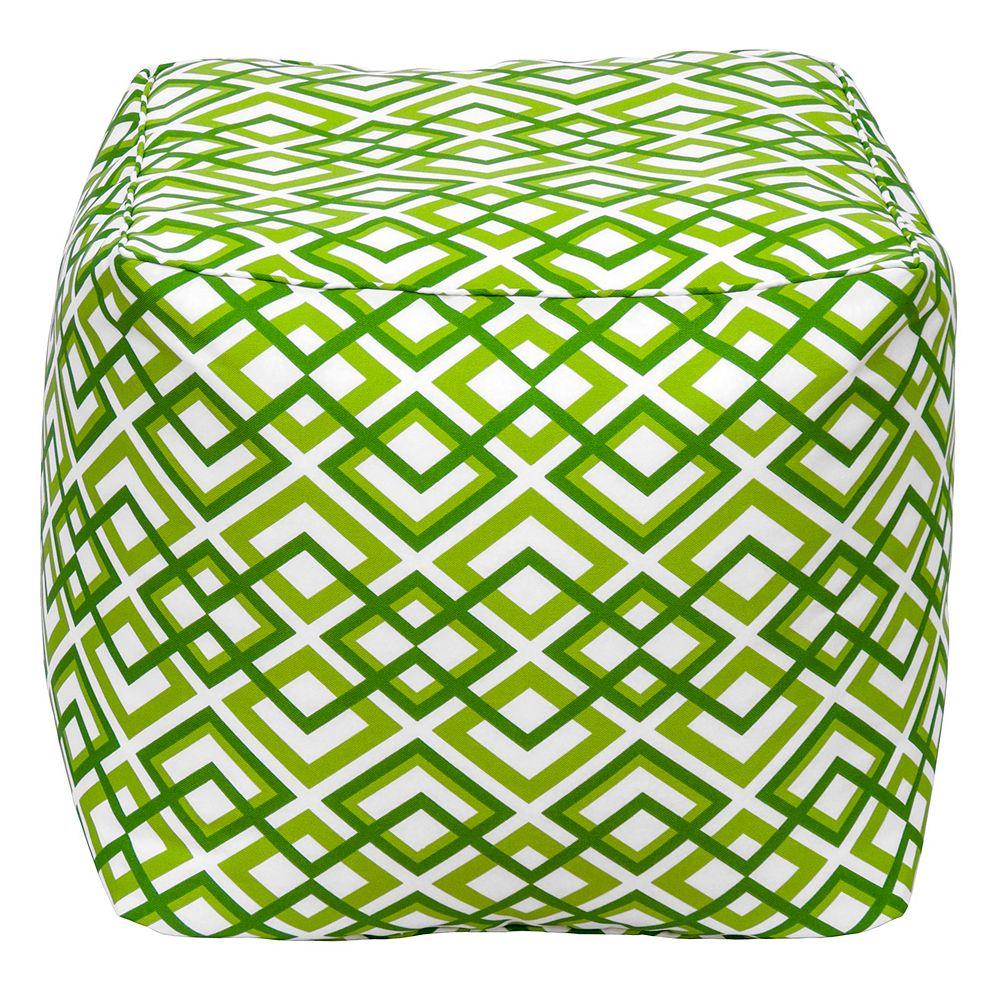 Bozanto Inc. Square Pouff Geo Light Green