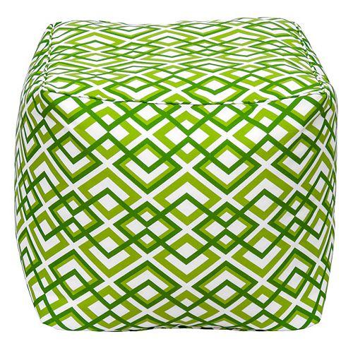 Square Pouff Geo Light Green