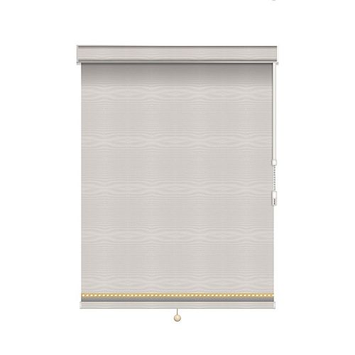 Sun Glow Blackout Roller Shade with Deco Trim - Chain Operated with Valance - 55.25-inch X 60-inch