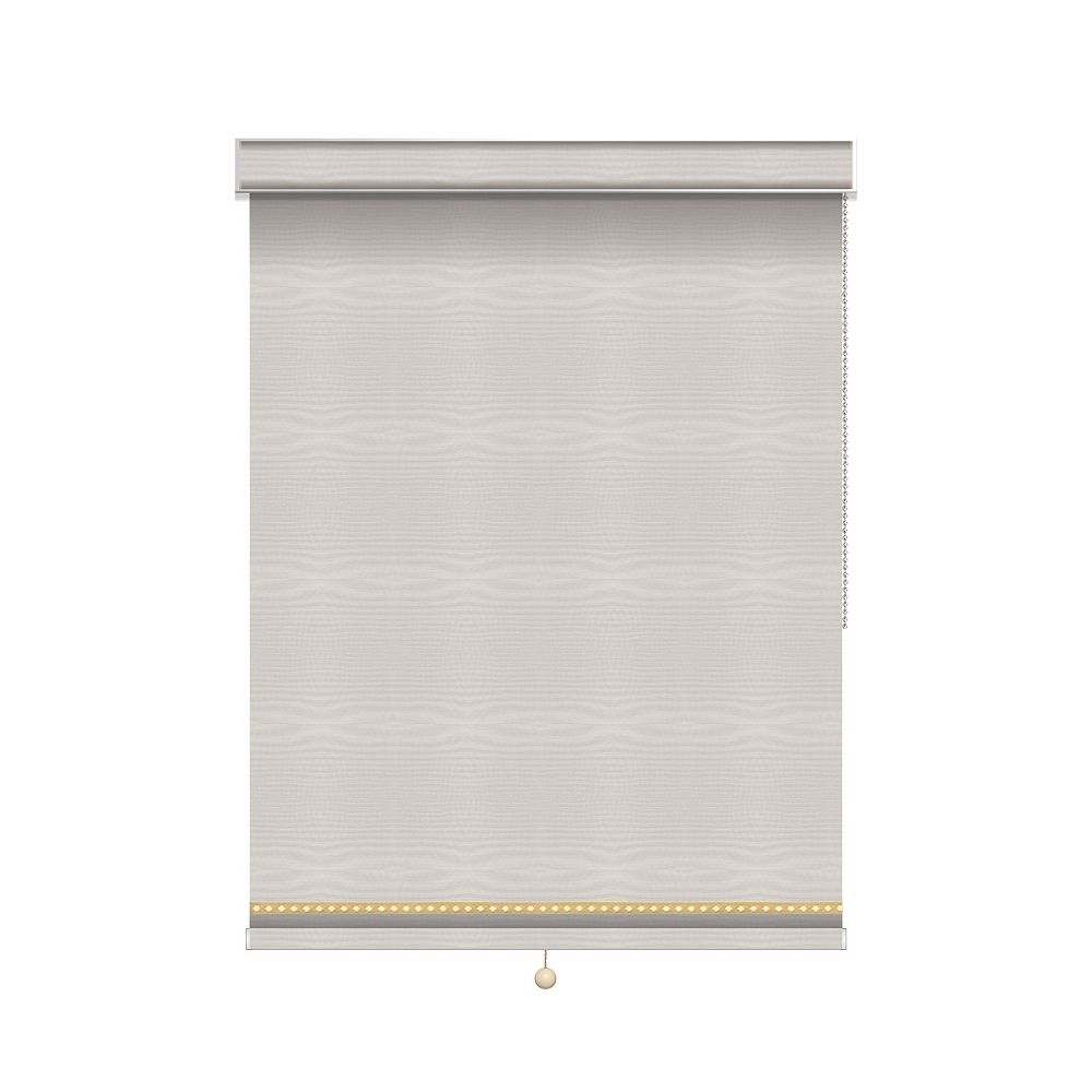Sun Glow Blackout Roller Shade with Deco Trim - Chain Operated with Valance - 74.75-inch X 60-inch