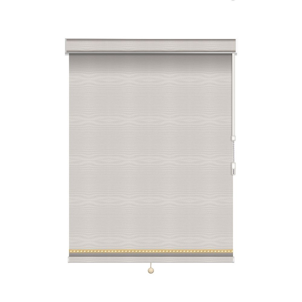 Sun Glow Blackout Roller Shade with Deco Trim - Chain Operated with Valance - 34.75-inch X 84-inch