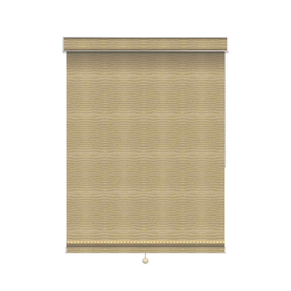 Sun Glow Blackout Roller Shade with Deco Trim - Chain Operated with Valance - 37.75-inch X 84-inch