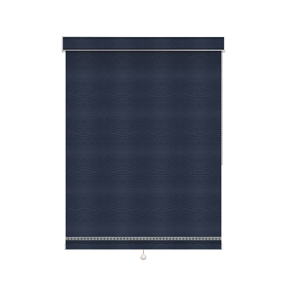 Sun Glow Blackout Roller Shade with Deco Trim - Chain Operated with Valance - 74-inch X 60-inch
