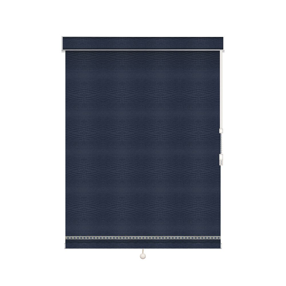 Sun Glow Blackout Roller Shade with Deco Trim - Chain Operated with Valance - 33.5-inch X 84-inch