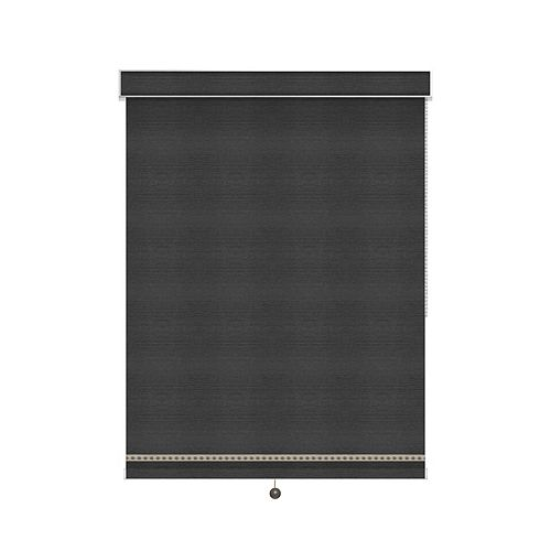 Sun Glow Blackout Roller Shade with Deco Trim - Chain Operated with Valance - 72.5-inch X 36-inch