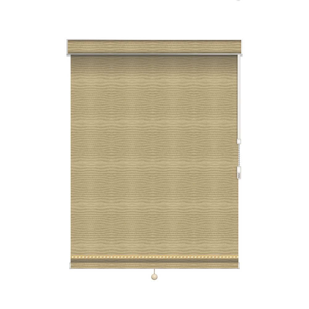 Sun Glow Blackout Roller Shade with Deco Trim - Chain Operated with Valance - 38.5-inch X 60-inch