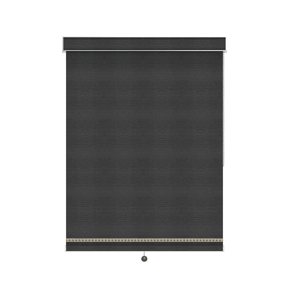 Sun Glow Blackout Roller Shade with Deco Trim - Chain Operated with Valance - 75.75-inch X 60-inch