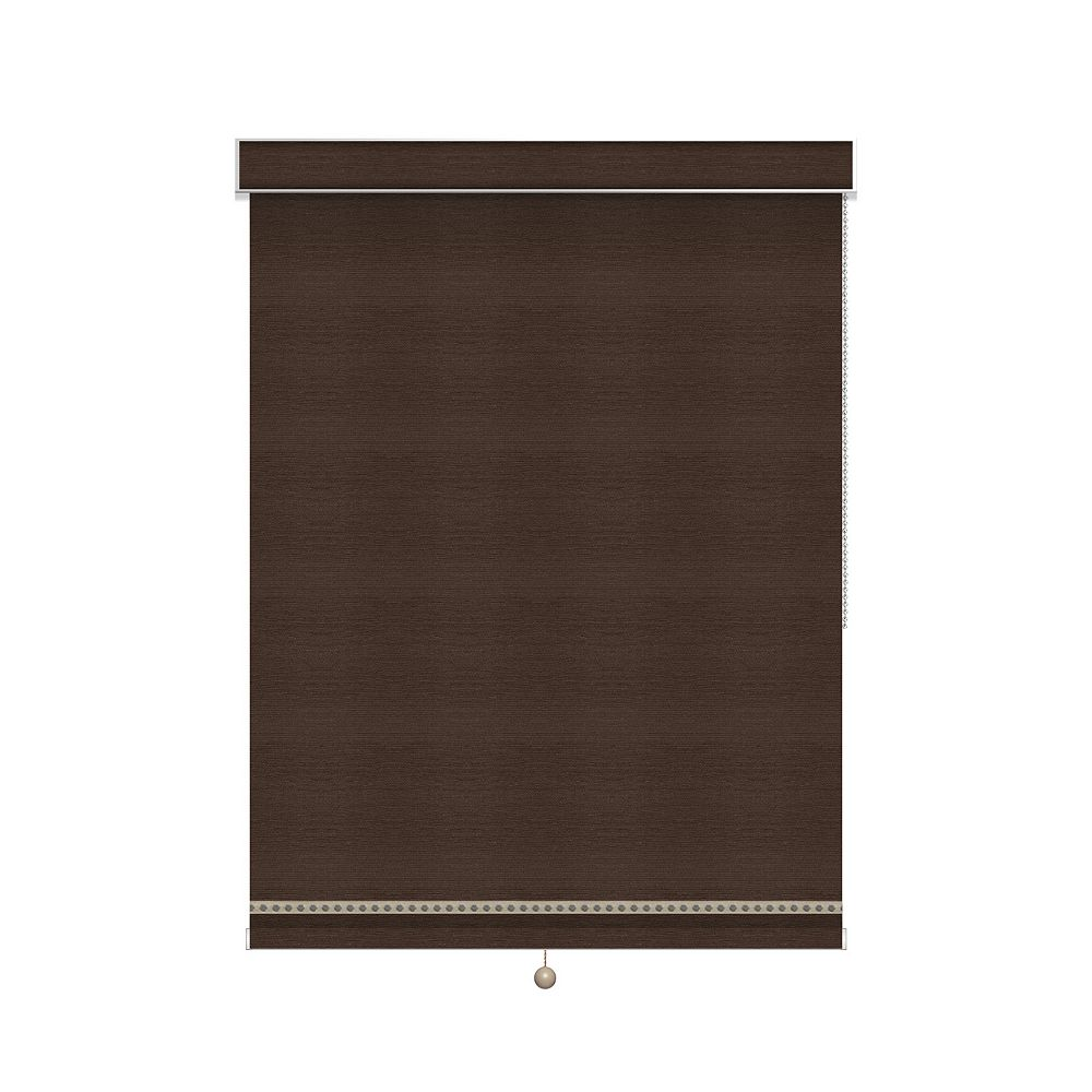 Sun Glow Blackout Roller Shade with Deco Trim - Chain Operated with Valance - 69.5-inch X 60-inch