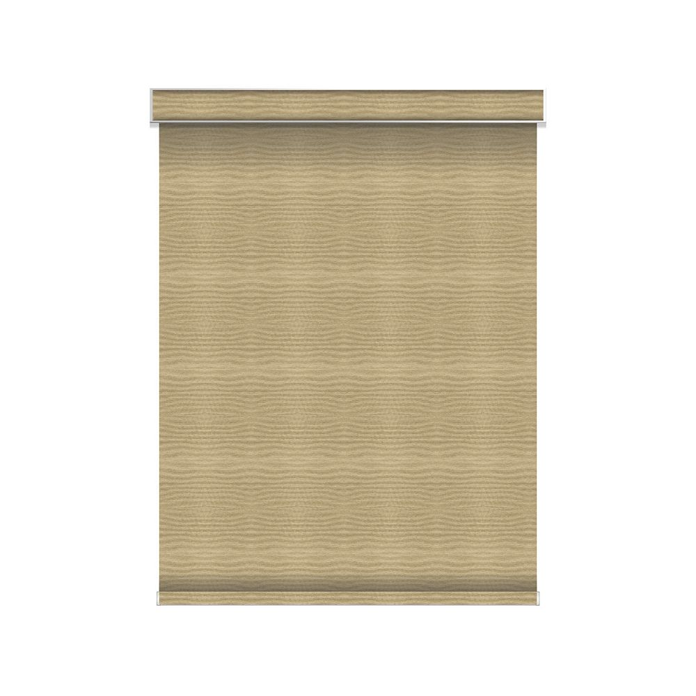 Sun Glow Blackout Roller Shade - Chainless with Valance - 33.75-inch X 36-inch in Champagne