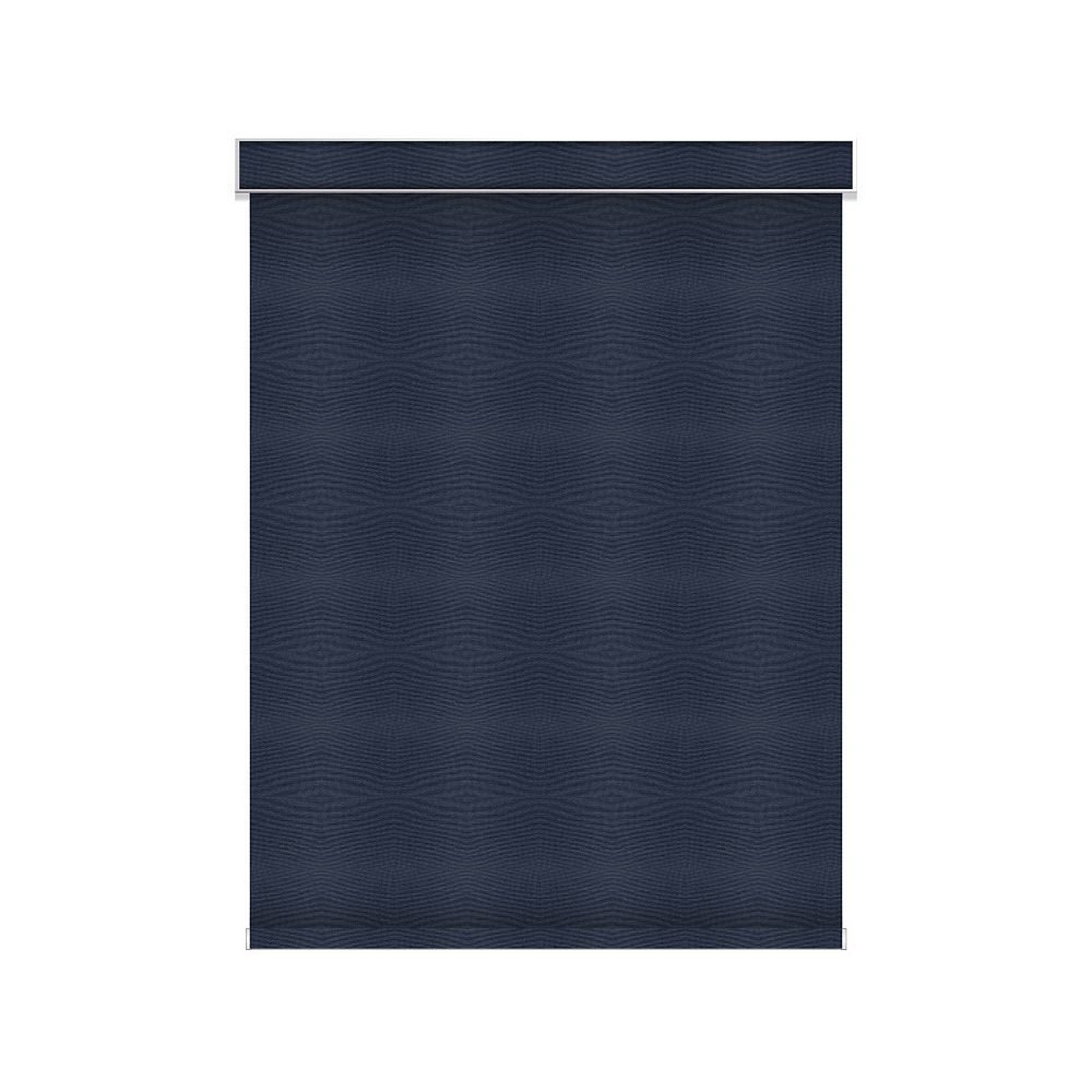 Sun Glow Blackout Roller Shade - Chainless with Valance - 66-inch X 36-inch in Navy