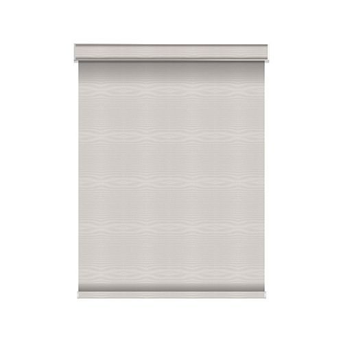 Sun Glow Blackout Roller Shade - Motorized with Valance - 57.25-inch X 84-inch in Ice