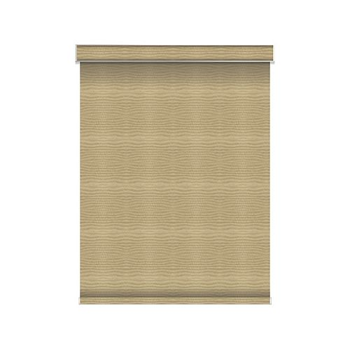 Sun Glow Blackout Roller Shade - Motorized with Valance - 55.25-inch X 84-inch in Champagne