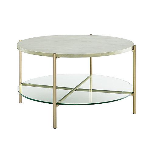 Modern Round Coffee Table - White Marble Top, Glass Shelf, Gold Legs
