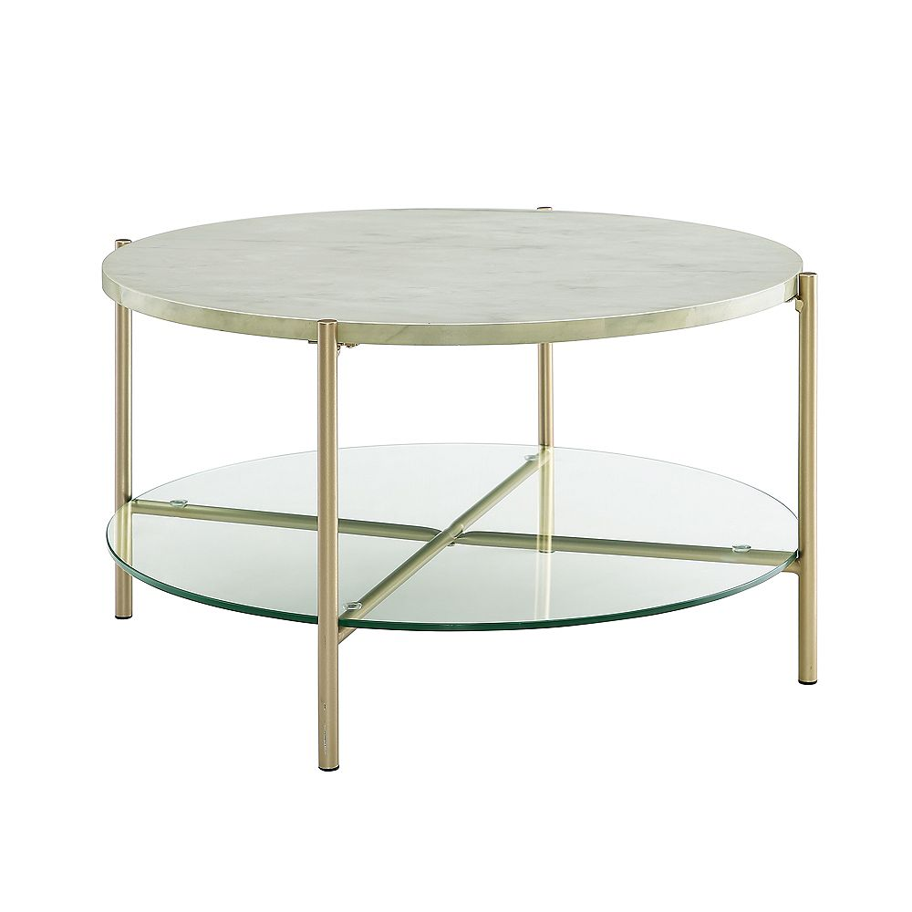 Walker Edison Modern Round Coffee Table White Marble Top Glass Shelf Gold Legs The Home Depot Canada