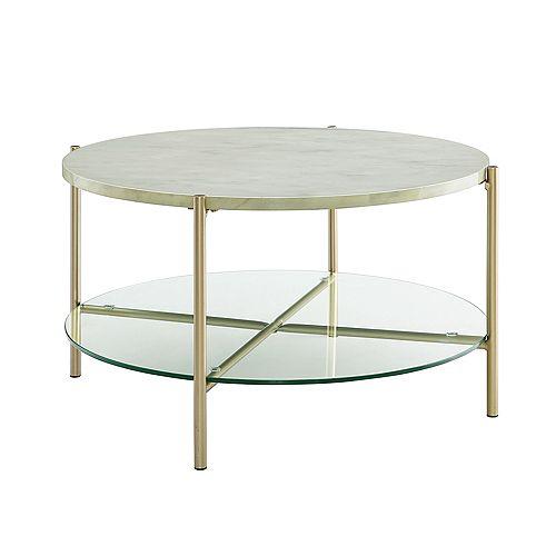 Table à café ronde moderne - Plateau en marbre blanc, tablette en verre, pieds dorés