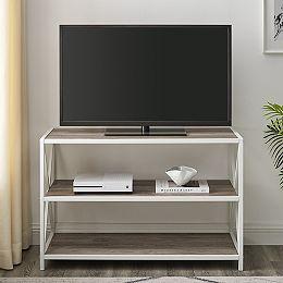 Bibliothèque industrielle en bois de 101,6 cm (40 po) - Gris délavé, métal blanc