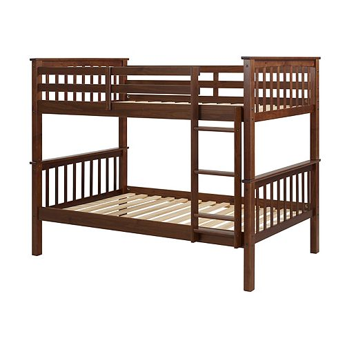 Solid Wood Twin over Twin Mission Design Bunk Bed in Walnut