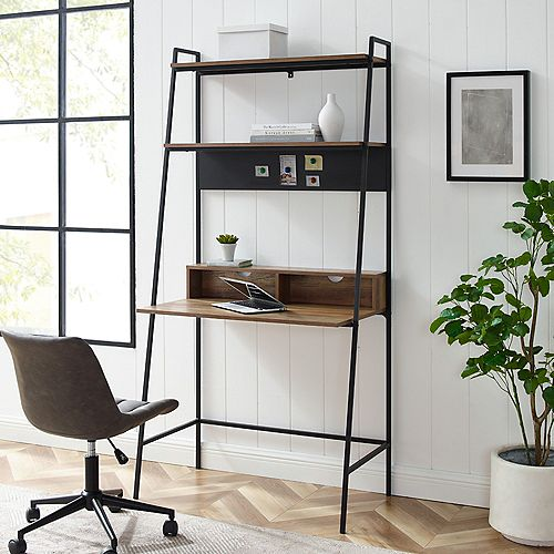 2 Shelf Modern Ladder Computer Desk - Reclaimed Barnwood