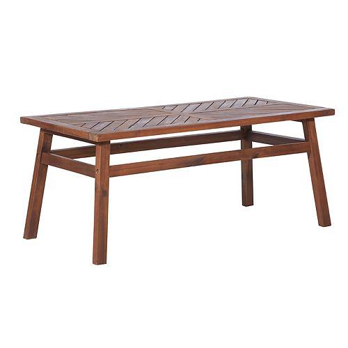 Dark Brown Acacia Wood Outdoor Patio Coffee Table