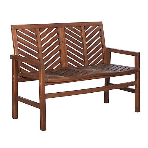 Chevron Patio Wood Love Seat - Dark Brown