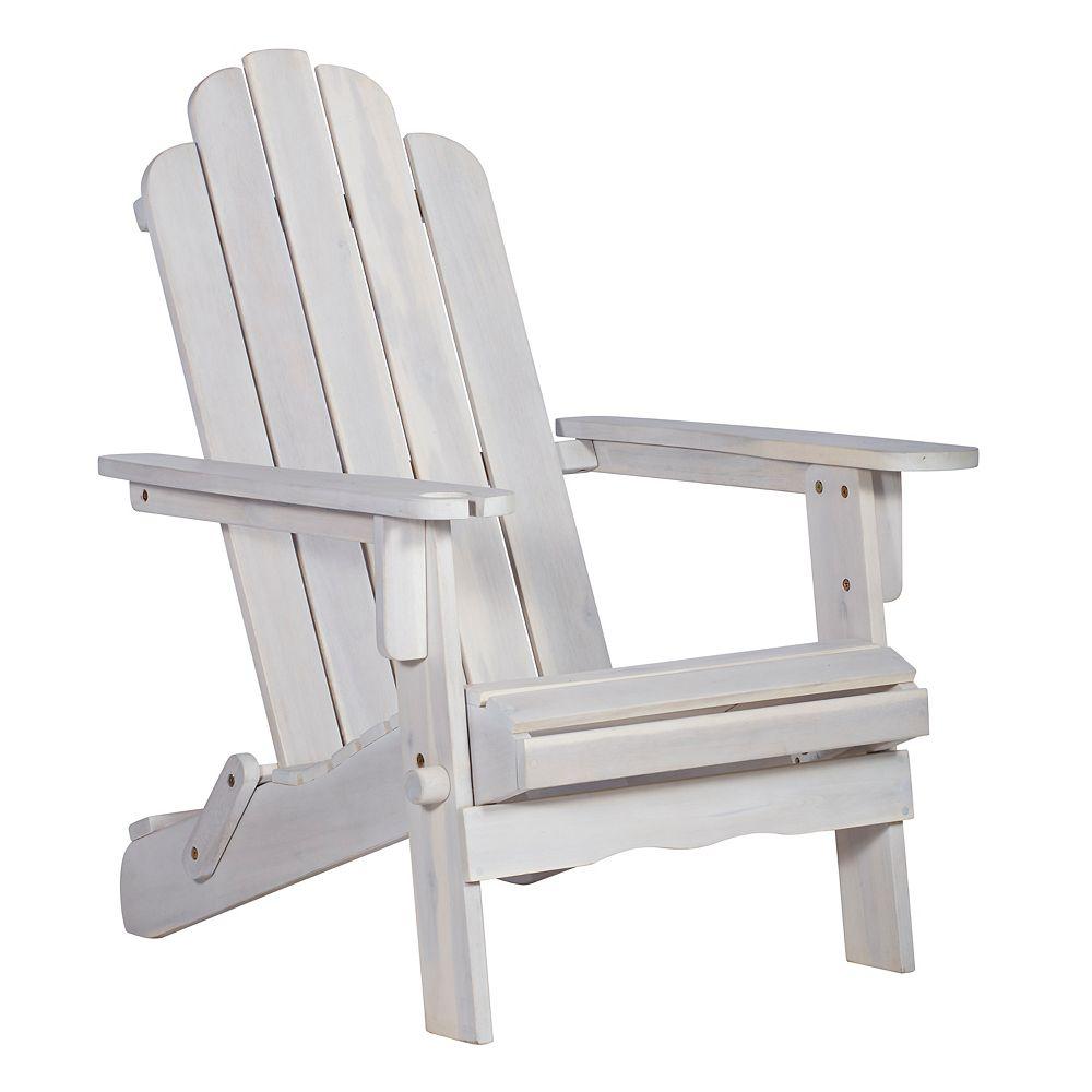Welwick Designs Adirondack Outdoor Patio Chair - White Wash