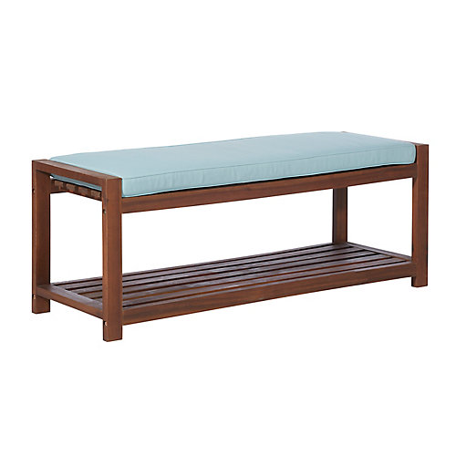 2 Person Patio Wood Bench with Cushion - Dark Brown/Blue