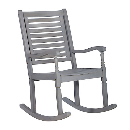 Wood Outdoor Patio Rocking Chair - Gray Wash