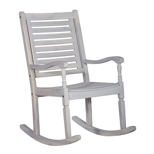 Wood Outdoor Patio Rocking Chair - White Wash