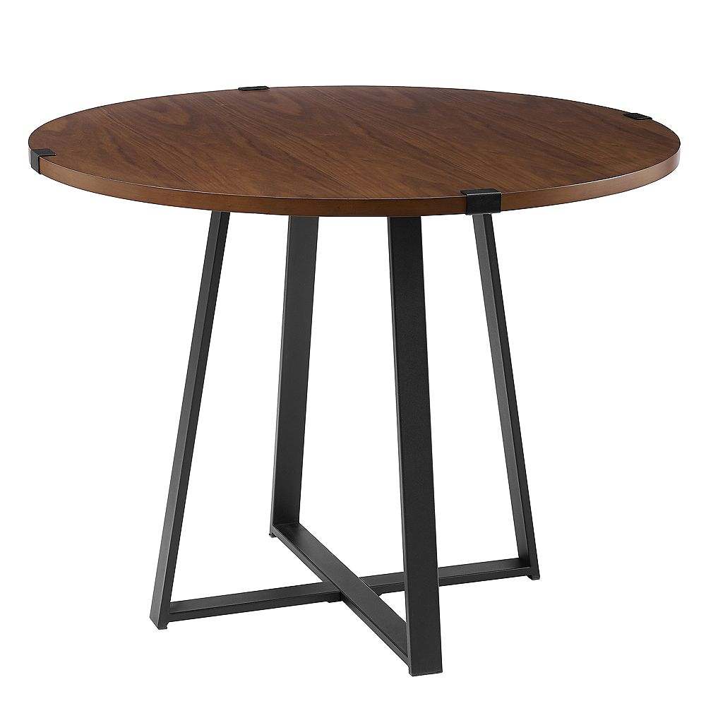 Walker Edison 4 Person Round Industrial Modern Dining Table Dark Walnut Black The Home Depot Canada
