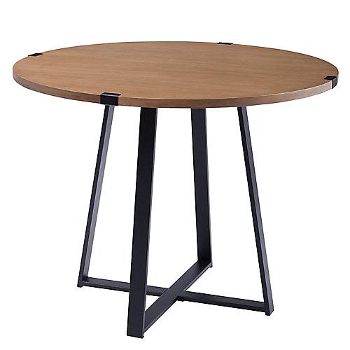 Table de salle à manger ronde de 101,6 cm (40 po) - Chêne anglais/Noir