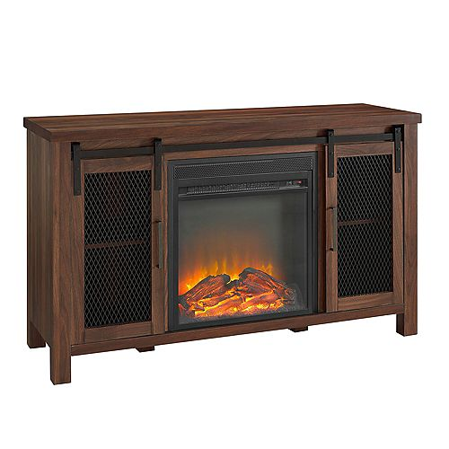 Rustic Farmhouse Fireplace TV Stand for TV's up to 52 inch - Dark Walnut