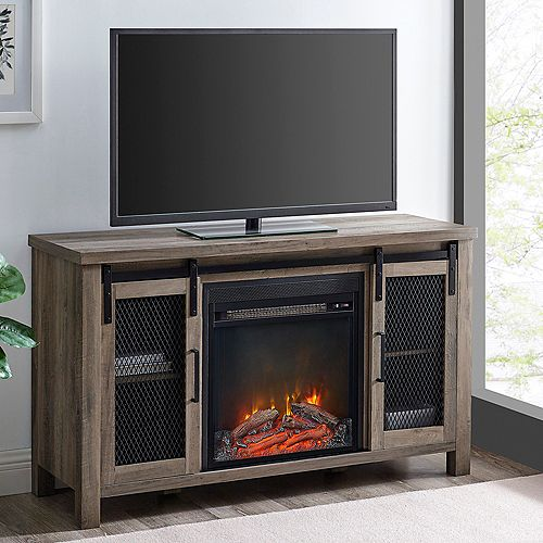 Rustic Farmhouse Fireplace TV Stand  for TV's up to 52 inch- Grey Wash