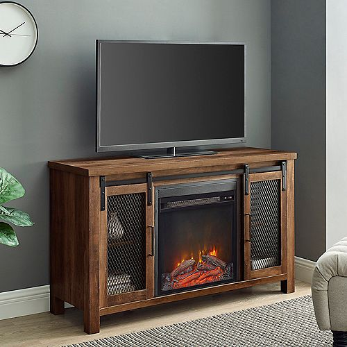 Rustic Farmhouse Fireplace TV Stand for TV's up to 52 inch  - Reclaimed Barnwood