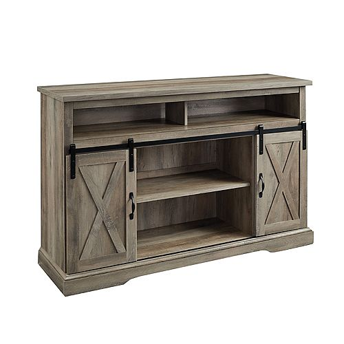 Modern Farmhouse TV Stand for TV's up to 56 inch - Grey Wash