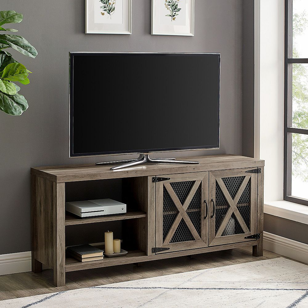 Walker Edison Industrial Farmhouse TV Stand for TV's up to 64 inch - Grey Wash