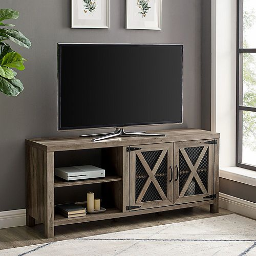 Industrial Farmhouse TV Stand for TV's up to 64 inch - Grey Wash