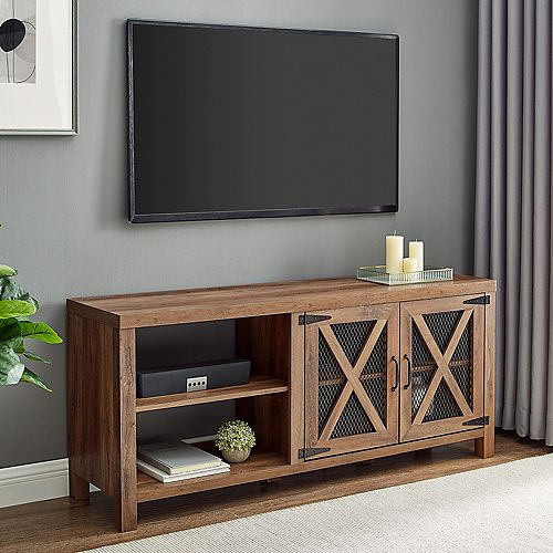 Industrial Farmhouse TV Stand for TV's up to 64 inch - Reclaimed Barnwood